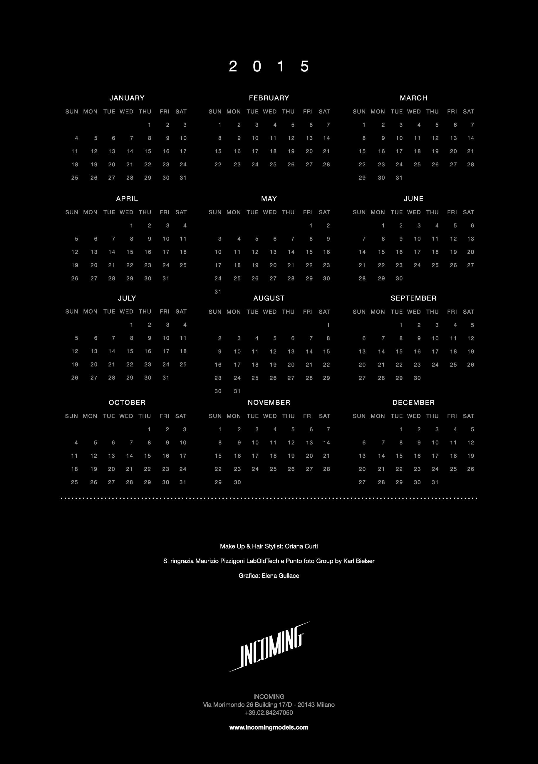 Calendario Beauty 2014 Agenzia di moda Incoming